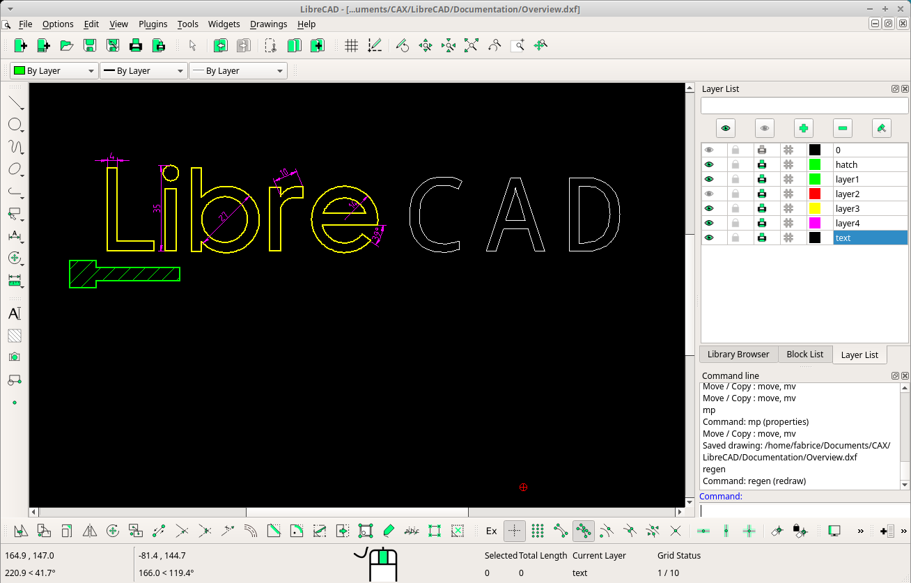 Screenshot of LibreCAD 2.1.3